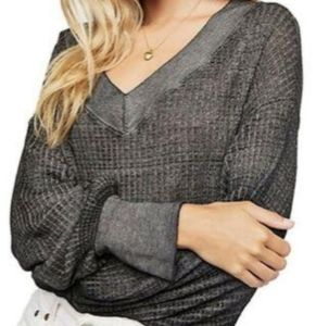 NWT Free The People South Side Black Thermal Top